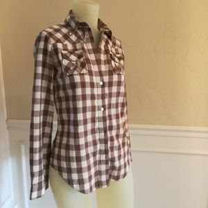 Elizabeth and James brown gingham button down